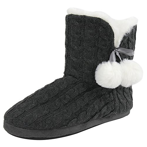 Home Slipper Women's Girl's Fashionable Cozy Slide Pom-Pom Warm Indoor Bedroom Ankle Booties Shoes,US 9/10