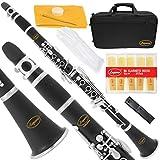 Lazarro 150-BK-L B-Flat Bb Clarinet Black, Silver Keys with Case, 11 Reeds, Care Kit and Many Extras