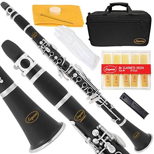 Lazarro 150-BK-L Bb-Klarinette schwarz, silberne Tasten mit Etui, 11 Stimmzungen, Pflegeset und viele Extras