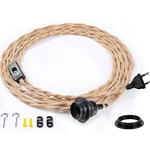 105.5CM Cable de araña de cuerda de cáñamo con enchufe de encendido/apagado Lámpara de araña decorativa adecuada para interiores, dormitorios, estilo retro