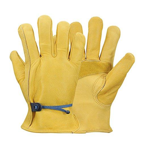 OLSON DEEPAK Work gloves Leather Gardening Gloves,Good Grip for Logging(Medium)