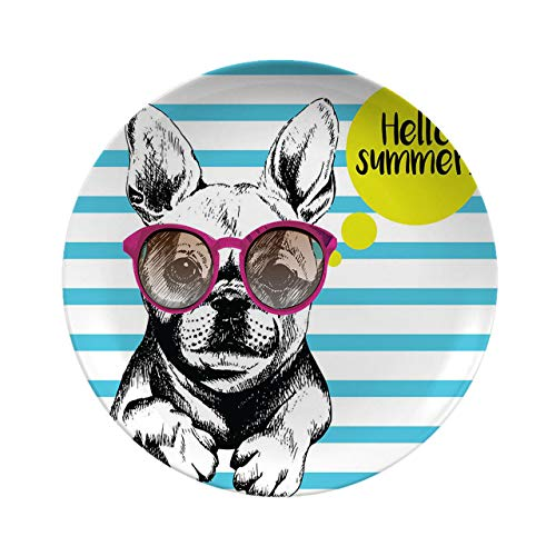 Ceramic Stoneware Dinner Plates,french Bulldog Wearing The Sunglassess,tableware Plates For Everyday Use,7 Inch 6 Piece Set