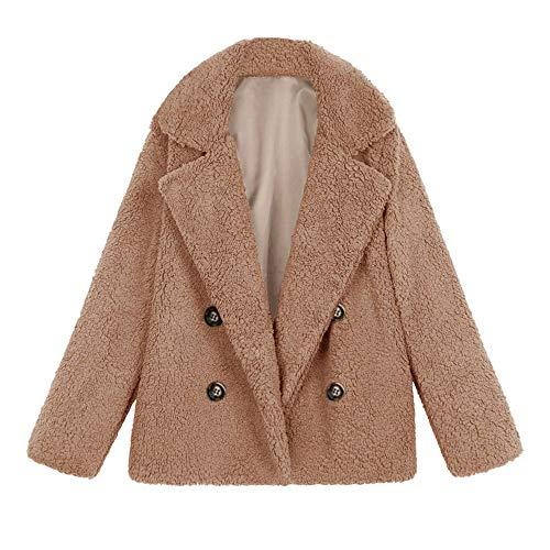 Chaqueta De Invierno para Mujer Casual Abrigo de Lana Outwear Parka Cardigan Slim Coat Overcoat Invierno Abrigo de Algodón Collar de Vuelta riou