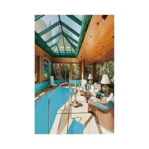 Polyester Garden Flag Outdoor Flag House Flag Banner,Modern Decor,Residential House Large Indoor Pool Furniture Sunrays Leisure Time,Green Light Brown Blue,for Wedding Anniversary Home Outdoor Garden