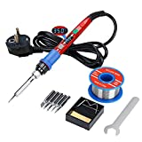 Soldering Iron Kit, Digital Control LCD Display Soldering Tools, 90W Thermostat Electric Soldering Gun with Auto Sleep Mode for Electronic Production / Desoldering