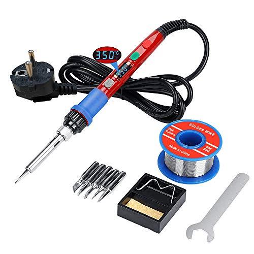 Lötkolben Kit Lötpistole, Schweißwerkzeuge mit digital gesteuertem LCD Bildschirm, 90W Thermostat Elektroschweißpistole mit automatischem Schlafmodus für die elektronische Produktion/Löten/Entlöten