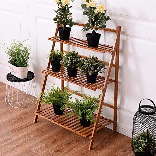 Estantería CASART plegable de bambú para macetas. Soporte para exposición de plantas, estante de jardín, estantería en escalera para exteriores e interiores.