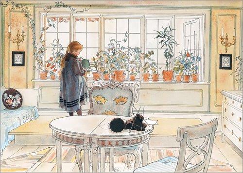 Posterlounge Leinwandbild 40 x 30 cm: Blumen auf der Fensterbank von Carl Larsson - fertiges Wandbild, Bild auf Keilrahmen, Fertigbild auf echter Leinwand, Leinwanddruck