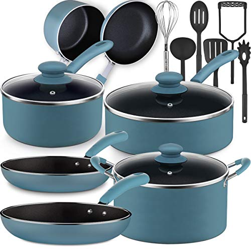 Lightning Deal Pots and Pans Set, Tri-Ply Non-Stick Coating,Induction Cookware Set with Silicone...