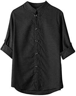 Men Long Sleeve Fashion T-shirt, Male Classic Chinese Style Kung Fu Solid Shirt Tops Tang Suit 3/4 Sleeve linen Blouse Shirt Tunic Tops