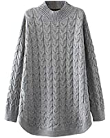 Minibee Women's Long Sleeve Sweater Mock Turtleneck Pullover Tops Ribbed Cable Knit Jumper Gray M