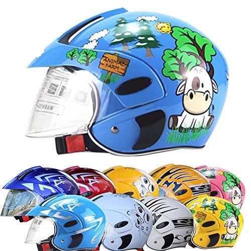 ZJRA Motorradhelm Für Kinder, Motorradhalbhelme, Elektromotorrad Four Seasons Moped Jungen Mädchen Kinder Kinder, 10 Farben Stil,Bluecartoon