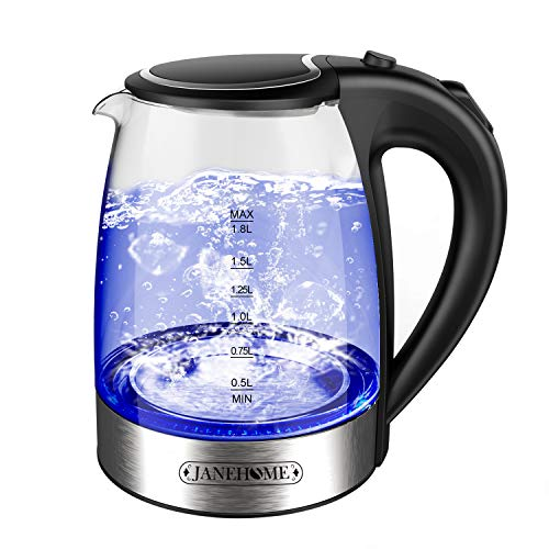 JANEHOME Electric Kettle,Glass Tea Kettle 1.8L with Blue LED for Boiling Water,BPA-Free Hot Water Glass Kettle with Auto Shut-Off and Boil Dry Protection for Coffee & Tea