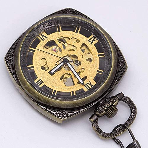 HFJKD zakhorloge Creatieve vierkante vorm Open mechanisch zakhorloge Romeinse nummer wijzerplaat hanger ketting Fob herenhorloge