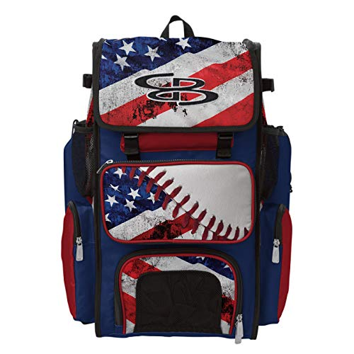 Boombah Superpack Bat Pack -Backpack Version (no Wheels) - Holds 2 Bats - Ink Baseball USA Series - for Baseball or Softball