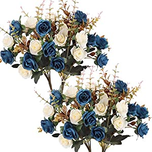 Moomass Artificial Flowers,2 Packs of Artificial Roses.24 Little Rose Silk Flowers. Plastic Flowers,Plants for Home Hotel Wedding Christmas Office Tables Decorations