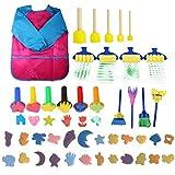Weilifang 44pcs Esponja del Kit del Cepillo Pintura Pintura DIY Kits de Aprendizaje Temprano Kids Paint Set Juego De Niños Regalo