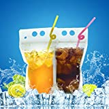 FillBo 100pcs Reusable Handheld Double-Zipper Clear Drink Pouches, Smoothie Bags with 100pcs Straws & Collapsable Silicone Funnel Designed for Adults and Kids
