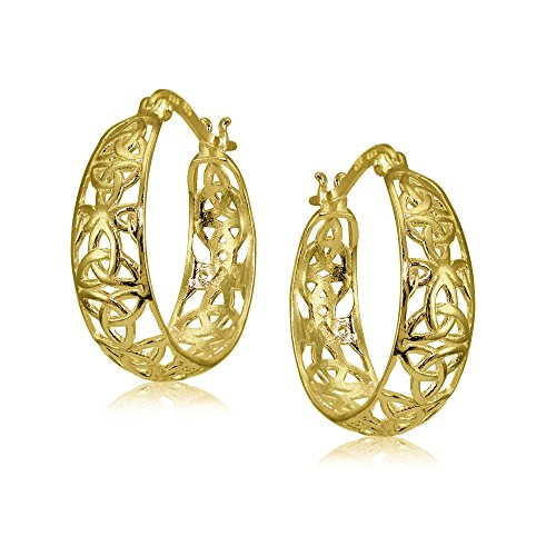 Yellow Gold Flashed Sterling Silver High Polished Celtic Knot Filigree Hoop Earrings