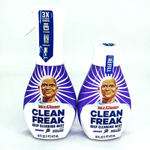 Mr. Clean Freak Deep Cleaning Mist Multi-Surface Spray Lavender Bundle, 1 Starter + 1 Refill