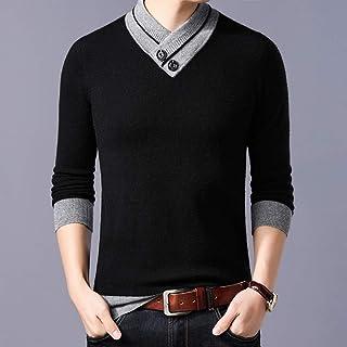 富贵鸟羊毛衫男士V领加厚纯色毛衣男冬季新款中青年时尚休闲保暖套头打底针织衫男装