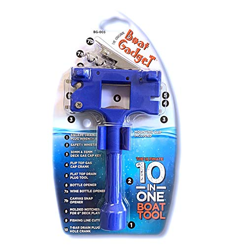 Boat Gadget – This 10-in-1 Boat Tool Includes Beer and Wine Bottle Opener, Safety Whistle, Fishing Line Cutter, Marine Gas Cap Key and Other Essential Tools – Ideal Gifts for Boaters – Blue