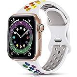 Epova Correa Deporte Compatible con Apple Watch 40mm 38mm, Mujeres Hombres Pulsera de Silicona Transpirable para iWatch SE Series 6 5 4 3 2 1, Blanco/Arco Iris, Pequeño