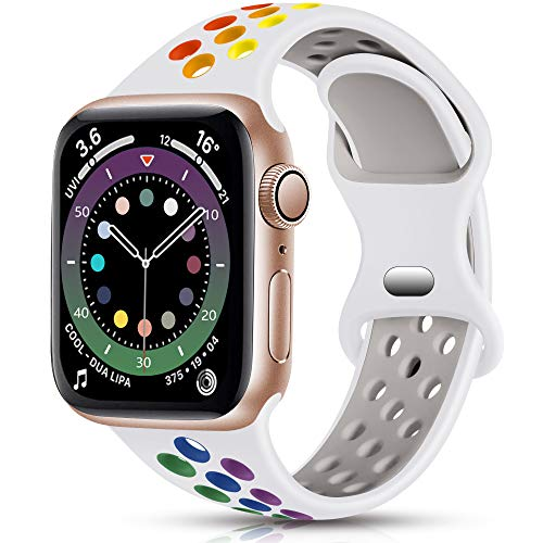 Epova Sport Armband Kompatibel mit Apple Watch Armband 42mm 44mm, Atmungsaktives Weiches Silikon Ersatz Armband Kompatibel mit iWatch SE Series 6 5 4 3 2 1, Weiß/Regenbogen, L