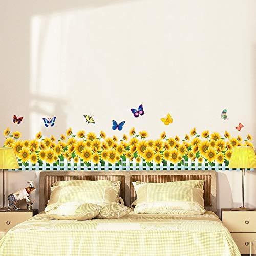 Sonnenblume Zäune Sockelleisten Wandaufkleber Wohnzimmer Schlafzimmer Wandtattoos Kunst Wohnkultur Bunte Schmetterling Vinyl Tapete