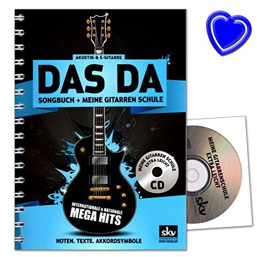 DAS DA Songbuch incl. Meine Gitarrenschule extra leicht auf CD - Gitarre stimmen, Akkordgriffe, Anschlagtechniken, Begleitrhythmen, Powerchords - Gitarrenschule mit CD, Notenklammer