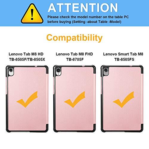 Fintie Hülle für Lenovo Tab M8 (TB-8705F/TB-8505F/TB-8505X/TB-8505FS), Ultradünne Superleicht Schutzhülle mit Ständerfunktion für Lenovo Tab M8 HD FHD (2nd Gen) Smart Tab M8 8 Zoll, Roségold