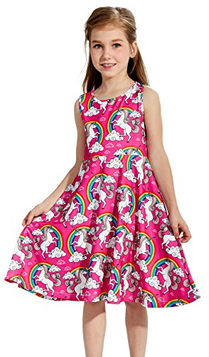 Girls Dresses Red Unicorns Fairy 8t 9t Kawaii Horses Animal Zoo Floral Print Nice Ruffle Twirling Overalls Dress Belle Princess Formal Maxi Midi Tshirt Skirt Daily Shcool Home Casual Partywear Size