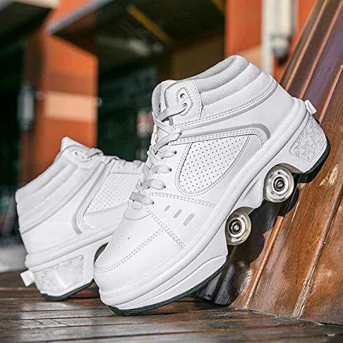 R&P Deformación 4 Rueda Patines En Paralelo Zapatos Multiusos Patines De Hielo 4 Rondas, Unisex, Deportes Al Aire Libre,39