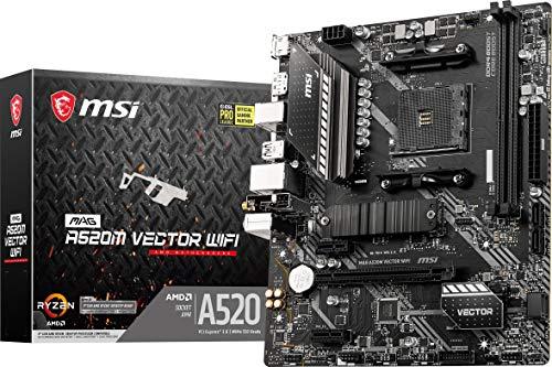 MSI MAG A520M Vector WiFi Gaming Motherboard (AMD AM4, DDR4, PCIe 3.0, SATA 6Gb s, 1 M.2, USB 3.2 Gen 1, HDMI DP, WiFi 5, Micro-ATX)