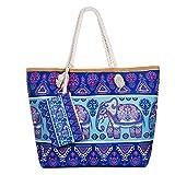 Diealles Bolsa de Playa de Lona Mujer Grande, Bolsa de Playa Grande con Cremallera para Mujeres y Niñas (Style 13)