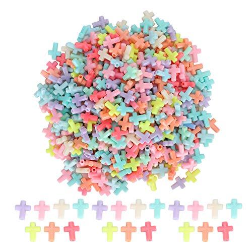 Mxzzand con Agujero acrílico Cuentas Cruzadas Color Caramelo DIY Cuentas Hechas a Mano Pulseras fabricación de Collares artesanales
