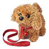 WorWoder Plush Teddy Toy Puppy Electronic Interactive Pet Dog - Walking, Barking, Tail Wagging, Stretching Companion Animal for Kids (Teddy Dog)