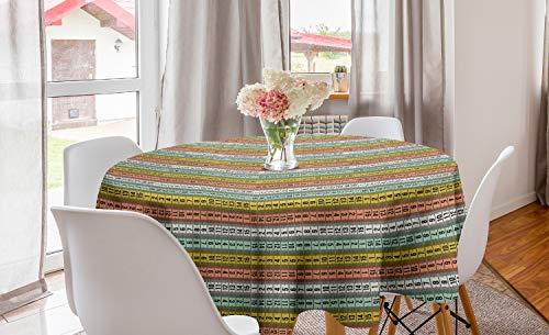 ABAKUHAUS Pastel Rond Tafelkleed, Couture Meetlint, Decoratie voor Eetkamer Keuken, 150 cm, Veelkleurig