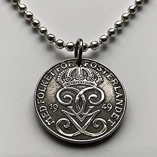 1947 Sweden 2 Ore coin pendant Swedish 3 crowns initial G Stockholm Sverige Nordic Scandinavian Viking Norse Baltic necklace n000126