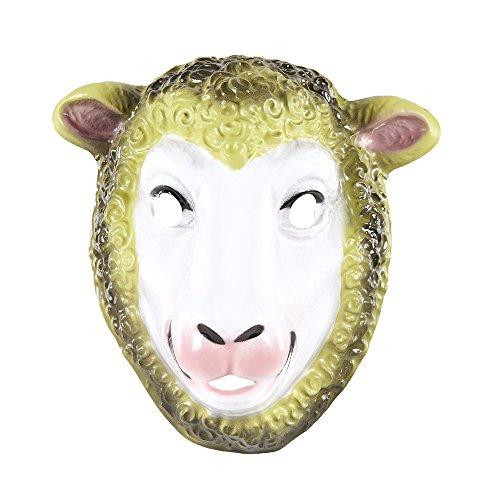 PARTY DISCOUNT Maske Schaf aus Plastik, Kindergröße