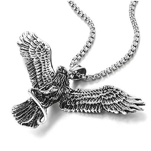 COOLSTEELANDBEYOND Vintage águila Volando Agarrando Serpiente Colgante, Collar de Hombre Mujer, Acero Inoxidable, Cadena de Trigo 75CM