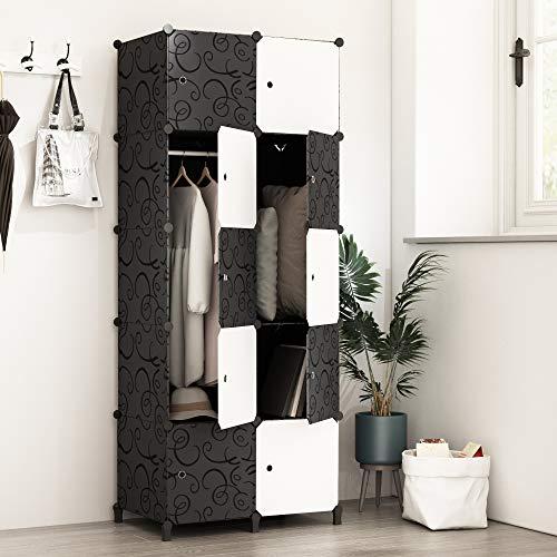 PREMAG Portable Garderobe für hängende Kleidung, Kombischrank, modularer Schrank für platzsparende, ideale Aufbewahrung Organizer Cube für Bücher, Spielzeug, Handtücher(10-Würfel)