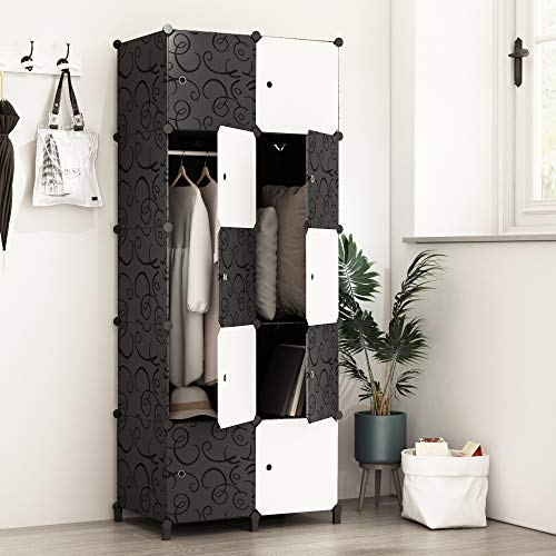 JOISCOPE PREMAG Portable Wardrobe for Hanging Clothes, Combination Armoire, Modular Cabinet for Space Saving, Ideal Storage Organizer Cube Closet for books, toys, towels(10-Cube)