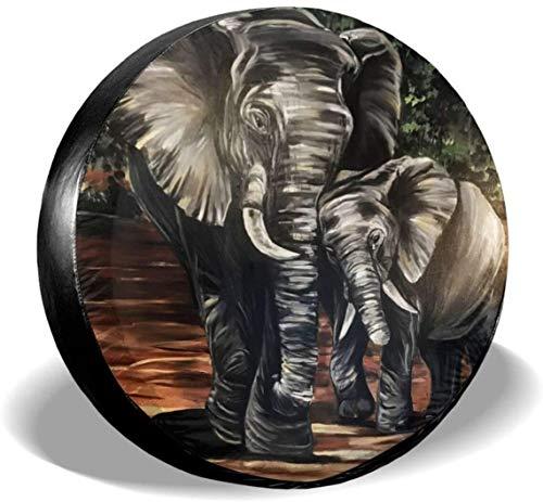 MODORSAN Elephant and Baby Art - Cubierta de neumático de Rueda de Repuesto de poliéster, Cubiertas de Rueda universales para Jeep, Remolque, RV, SUV, camión, Accesorios, 15 Pulgadas