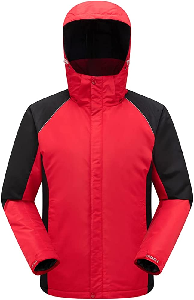 Mens Fleece Thicken Sports Jacket Breathable Outdoor Water-Resistant Hiking Classic Mountain Jacket Multi-Pockets