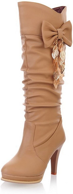 BalaMasa Ladies Metal Chain Spun gold Bowknot Platform Stiletto Soft Material Boots