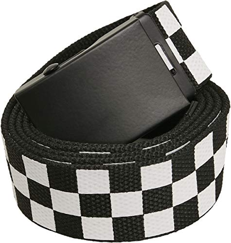 Urban Classics Unisex Adjustable Checker Belt Gürtel, black/white, one size