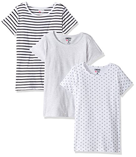 Limited Too Girls' Little 3 Pack Short Sleeve T-Shirt, KW15 Multi, 4