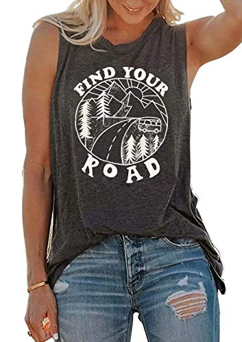 Umsuhu Find Your Road Shirts Tank Tops Women Sleeveless Summer Graphic Tank Tops Tee Shirts X-Large Gray