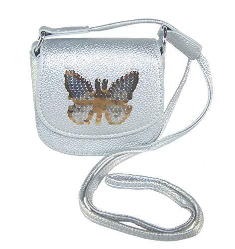 The Sparkle Club Mädchen-Handtasche/Handtasche mit Pailletten und Schmetterlingen, silberfarben